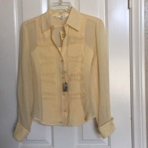Max Studio yellow 100% silk. Blouse W/ free tank